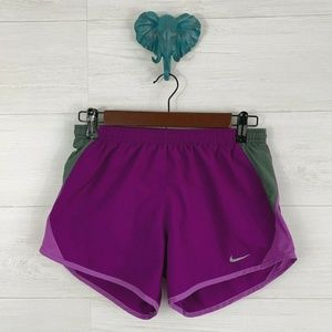 Nike Dri Fit Purple Lined Elastic Waist Run Shorts